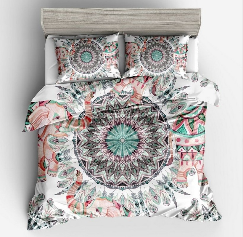 Fanaijia 3pcs Bohemian Bedding Set queen size Mandala feather Print Duvet Cover set with pillowcase AU king Bed bedline