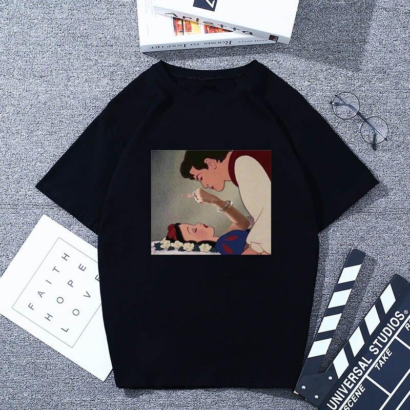 ZSIIBO Women's Dark Snow White Harajuku Fashion T Shirt O-Neck Fck You Punk T-Shirt Print Casual Short Sleeve Tshirt Streetwear