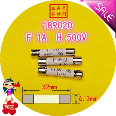 SIBA Fusível F 1A H 500V 7006563 189020 6.3x32mm tubo de fusível fusível