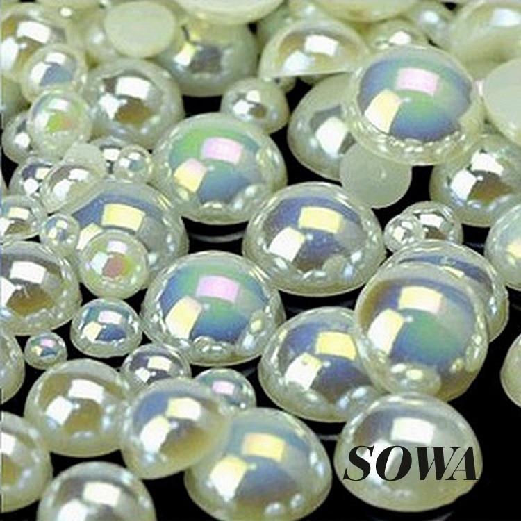 Frete Grátis 8mm Marfim AB Cor Artesanato Resina ABS Flatback Meia Volta Pérolas Flatback Scrapbook Beads DIY Nails (200 pçs/lote)