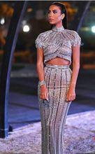 two-piece Women Elegant Sequined Turtleneck Sleeveless dress 2018 NEW Vestido Celebrity evening party Bandage bodycon dresses
