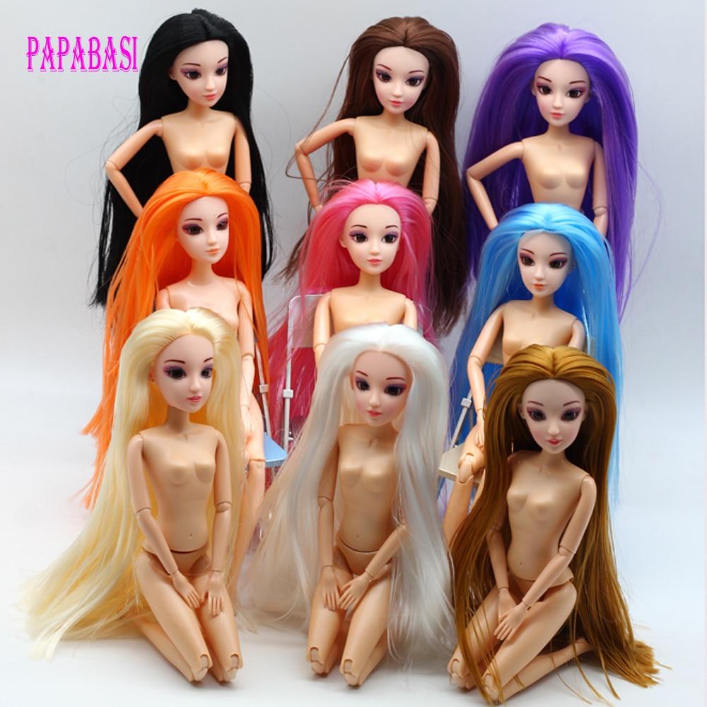 Papabasi 1 Juego de cuerpo de muñeca 12 articulaciones movibles con cabeza ojos 3D Pelo Largo juguete niños niñas regalo muñeca Juguetes