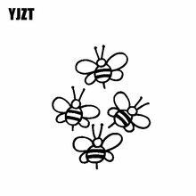YJZT – autocollant en vinyle 15.3x19.2CM, étiquette de voiture, mignon, jeu dabeille, noir/argent, C19-0054