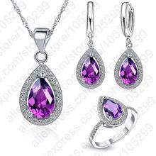 Purple Jewelry Sets Water Drop Cubic Zirconia CZ Stone 925 Sterling Silver Earrings Necklaces Finger Rings US 6-9