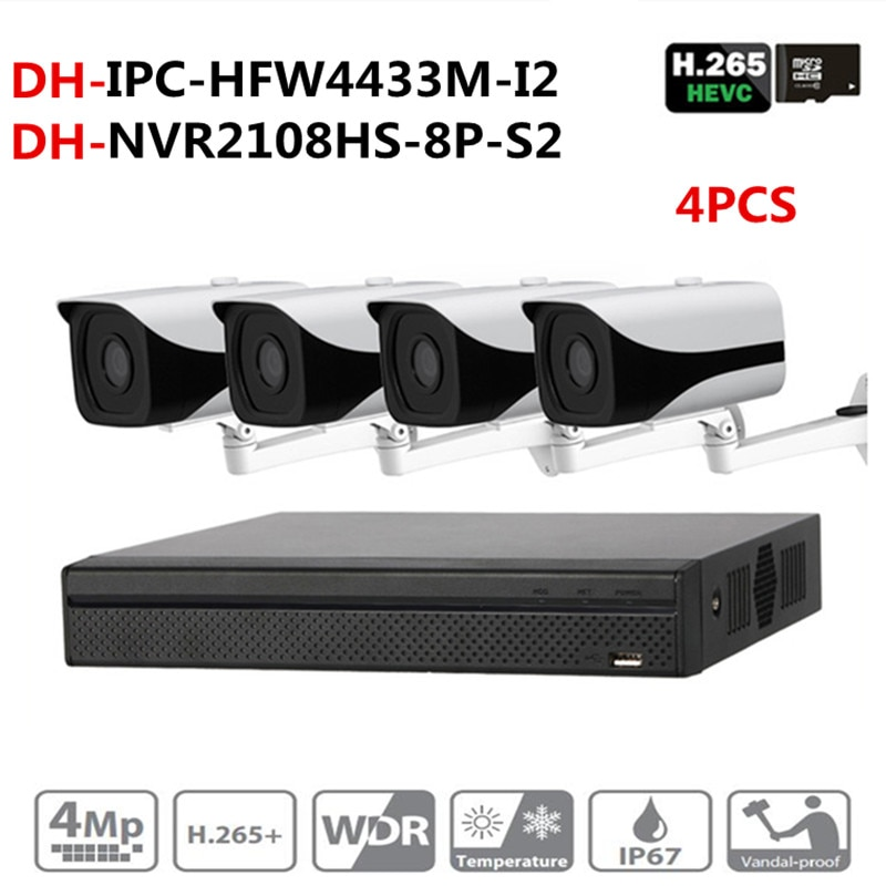DH NVR de cámara de seguridad CCTV NVR NVR2108HS-8P-S2 Cámara IPC-HFW4433M-I2 con soporte DS-1292ZJ sistema de vigilancia