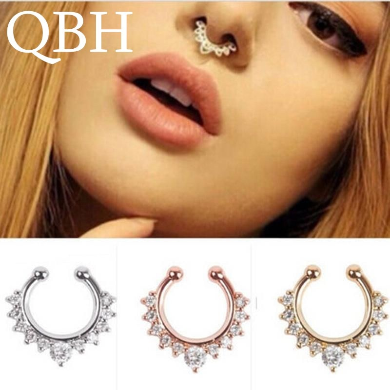 New Crystal Clicker Fake Septum For Women Clip Hoop Nose Ring Faux Piercing Gold Silver Plated Men G