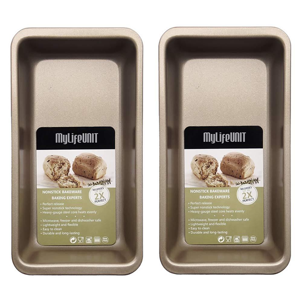 MyLifeUNIT no-Stick Loaf Pan para hornear medio tostada Pan para hornear ollas para el brindis (Juego de 2)