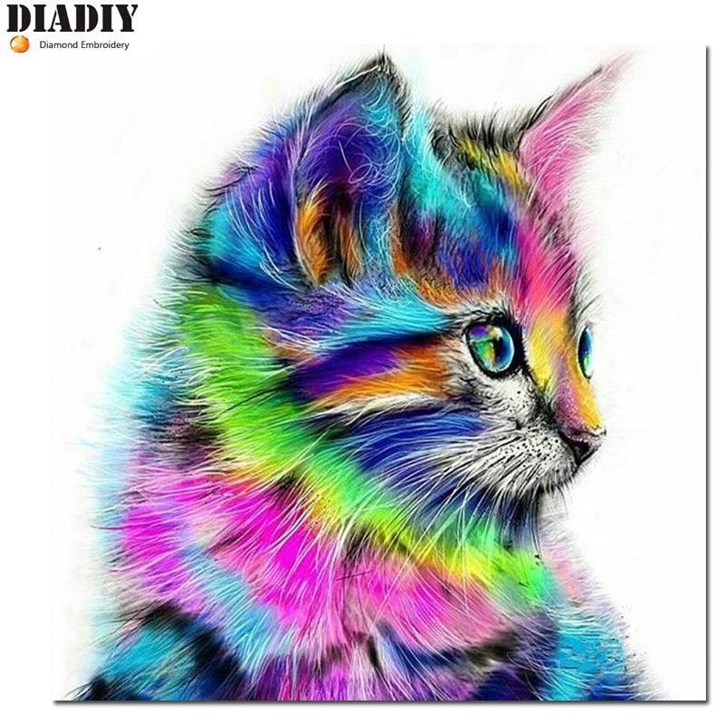 100% DIY Алмазная мозаика, цветная кошка, ручная работа, алмазная живопись, наборы крестиков, алмазная вышивка, узоры, стразы, искусство