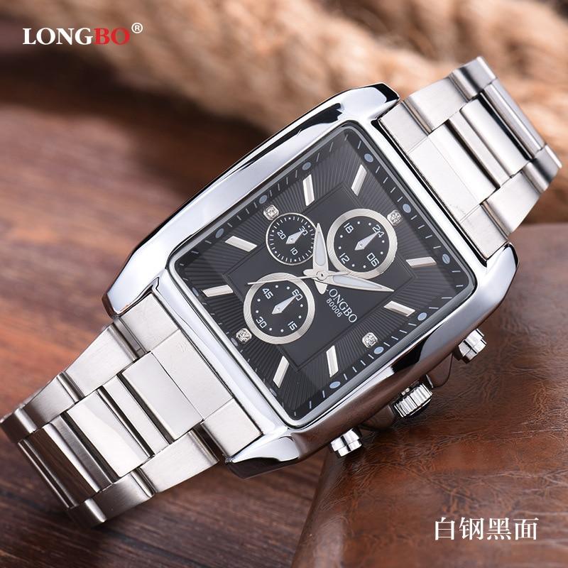 Longbo Mode Marke Quarz Beiläufige Uhr Männer Business Sport Military Stahl Casual Wasserdicht Kleid uhren Uhren hombre