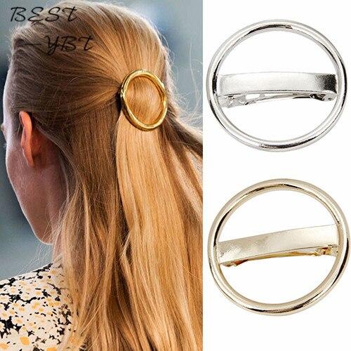Accesorios para el cabello para mujer, horquilla de círculo Punk, horquilla redonda de aleación de plata dorada, pinza para el pelo