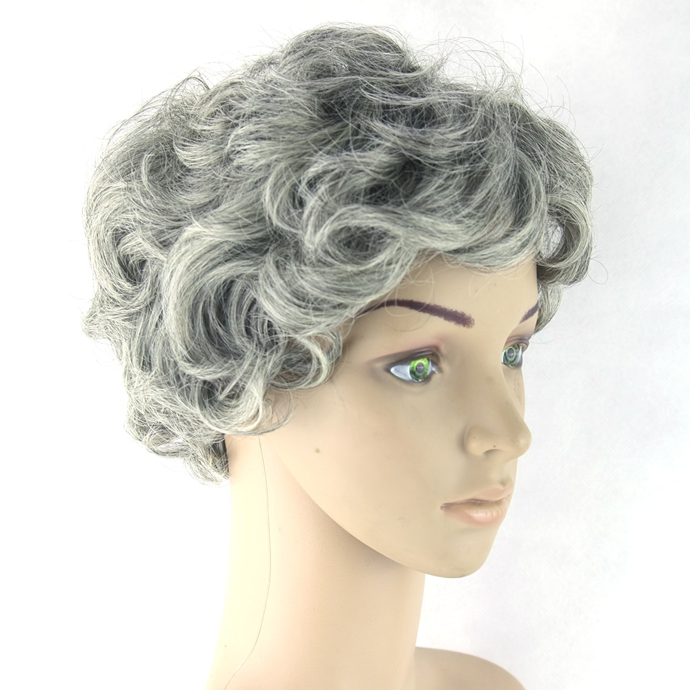 Gray Hair Short Women Wig Black Mix White Synthetic Hair Heat Resistant Hair Curly Grey Wigs