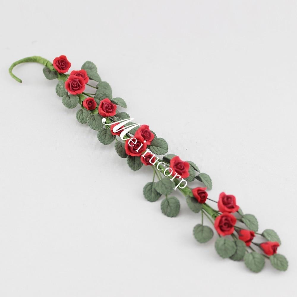 Wholesale fine Dollhouses 1:12 scale red Mini flower