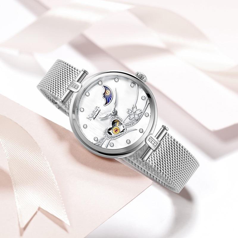 Switzerland Luxury Brand Nesun Women Watch Japan Original Automatic MOVT Wristwatches 50M Waterproof Skeleton Lady clock N9062-4 enlarge