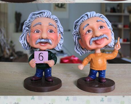 Decoración del hogar artesanía de resina Einstein Bobble cabeza gente famosa Bobblehead recuerdo decoración del hogar figura escultura