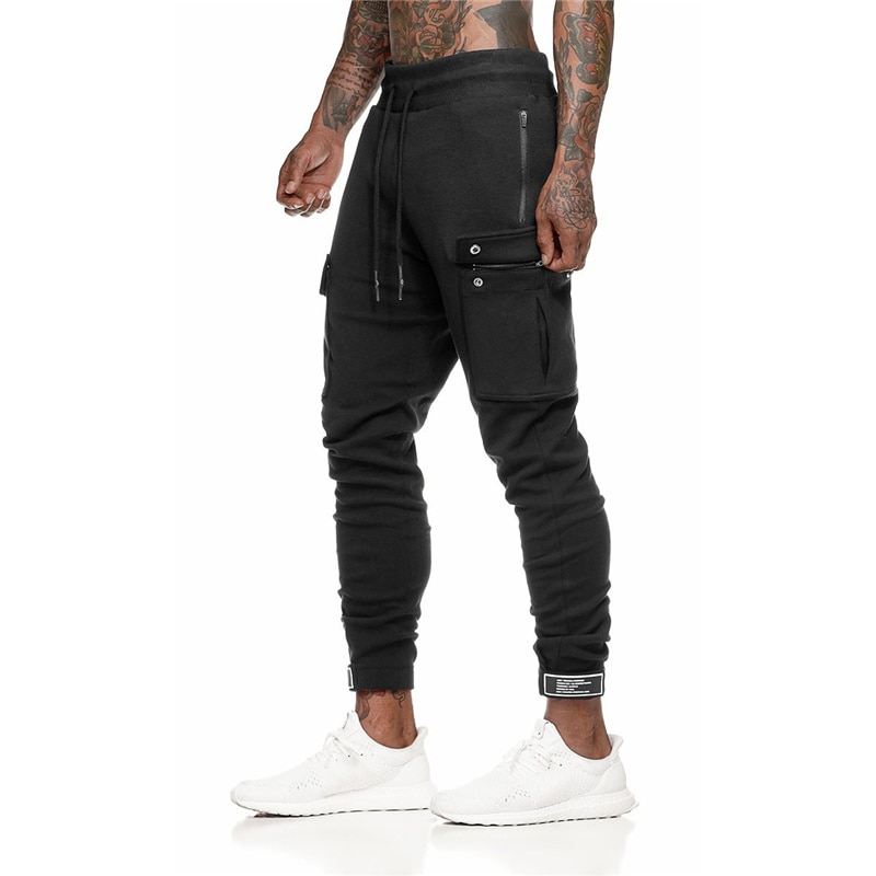 ¡Primavera 2020! Pantalones de hombre, pantalones de chándal de bolsillo lateral para gimnasio para hombre, pantalones de chándal para hombre, ropa deportiva, pantalones de Culturismo