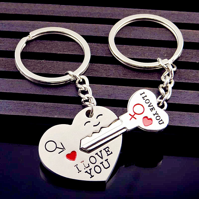 LLavero de pareja de 2017, llavero de corazón de amor, llavero de bloqueo, bolso de mujer, joyería, regalo de San Valentín para mujer, boda