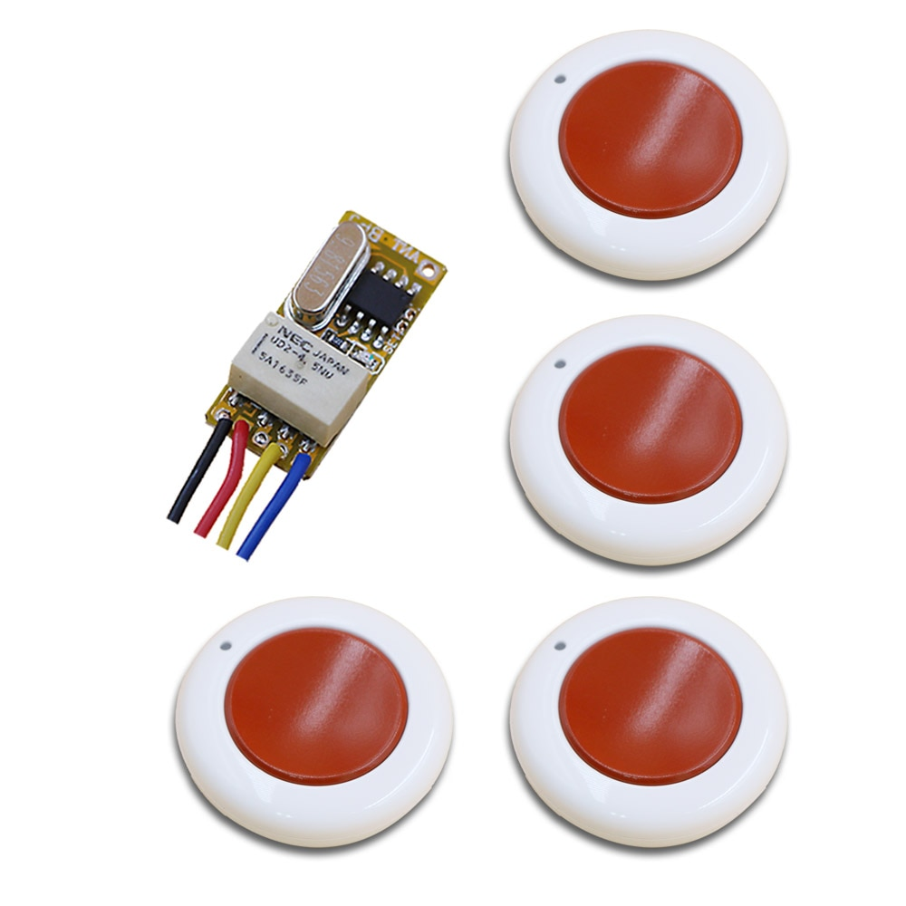 White and Red DC3.5-12V Mini Wireless Remote Control Switch 1Channal Intelligent Family System Transmitter with Receiver 315/433