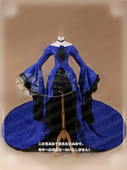 لين Vocaloid تأثيري الأزرق روز لين تأثيري حلي 3P لين الأزرق روز اللباس رائع اللباس مخصص/حجم