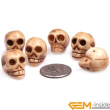 15x19mm Skull Shape Bulk 9 PCS Carved OX Bone (Hole Size1.5mm) Beads DIY Beads For Halloween Jewelry Making