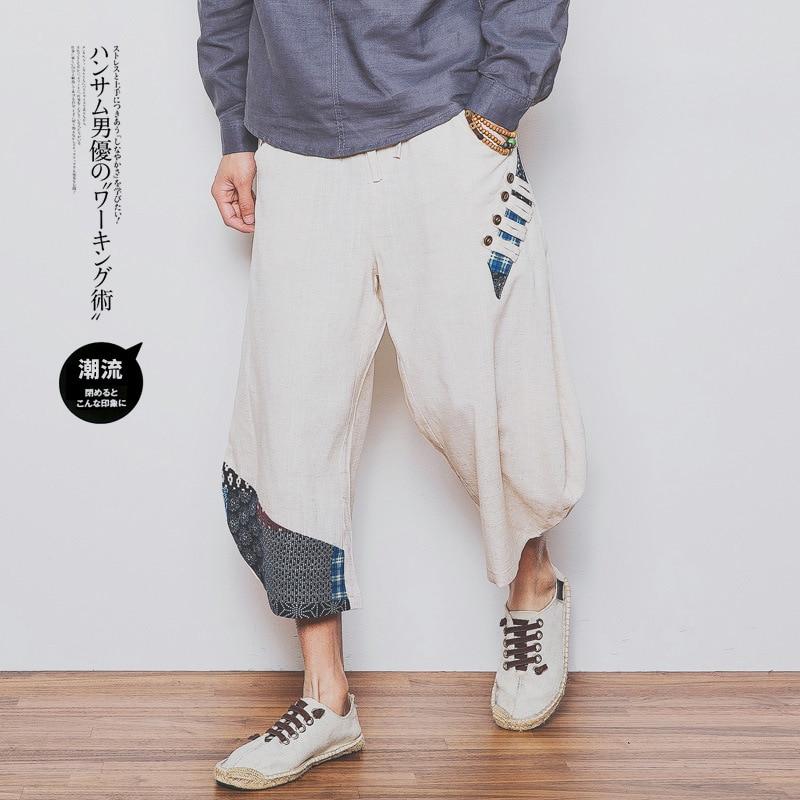 Pantalones holgados con cordón para hombre hasta la pantorrilla Harem pantalones de algodón de lino cómodos pantalones de pierna ancha hip hop Streetwear hombres pantalones PT-293