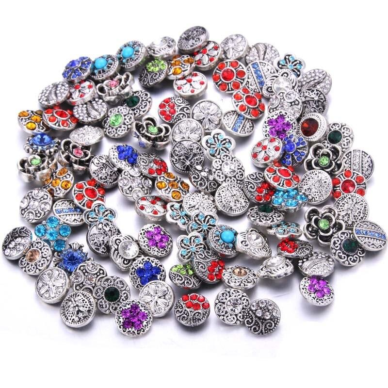 10 pçs/lote 12mm 18 milímetros Snap Botões Jóias para Snaps Pulseira estilo Misto de Strass Botões de Pressão de Metal Encantos DIY Jóias
