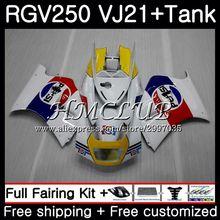Body +Tank For SUZUKI VJ21 VJ22 VJ23 RGV250 hot sale white 1988 1989 41HC.5 RGV-250 VJ 21 22 23 SAPC RGV 250 88 89 Fairing kit