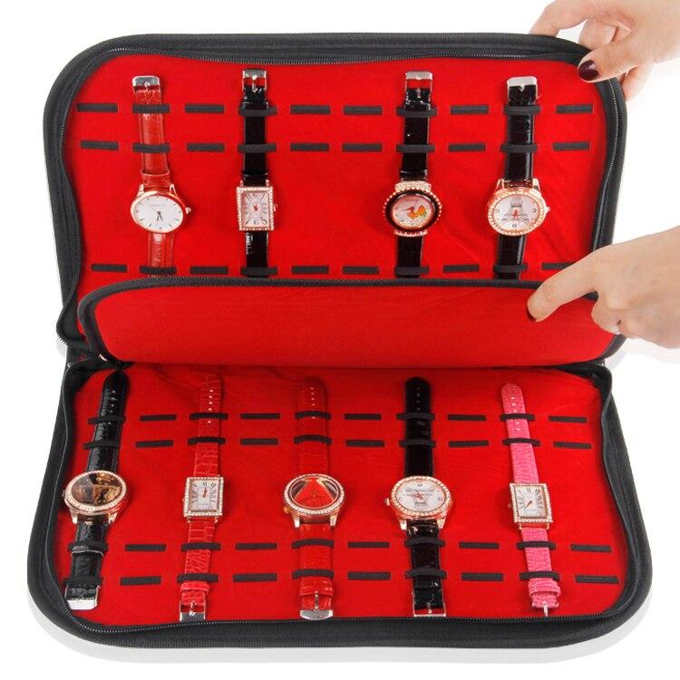 TONVIC venta al por mayor bolso de la bandeja de exhibición del reloj de terciopelo rojo de cuero negro para 20 piezas TVA-RYC-388