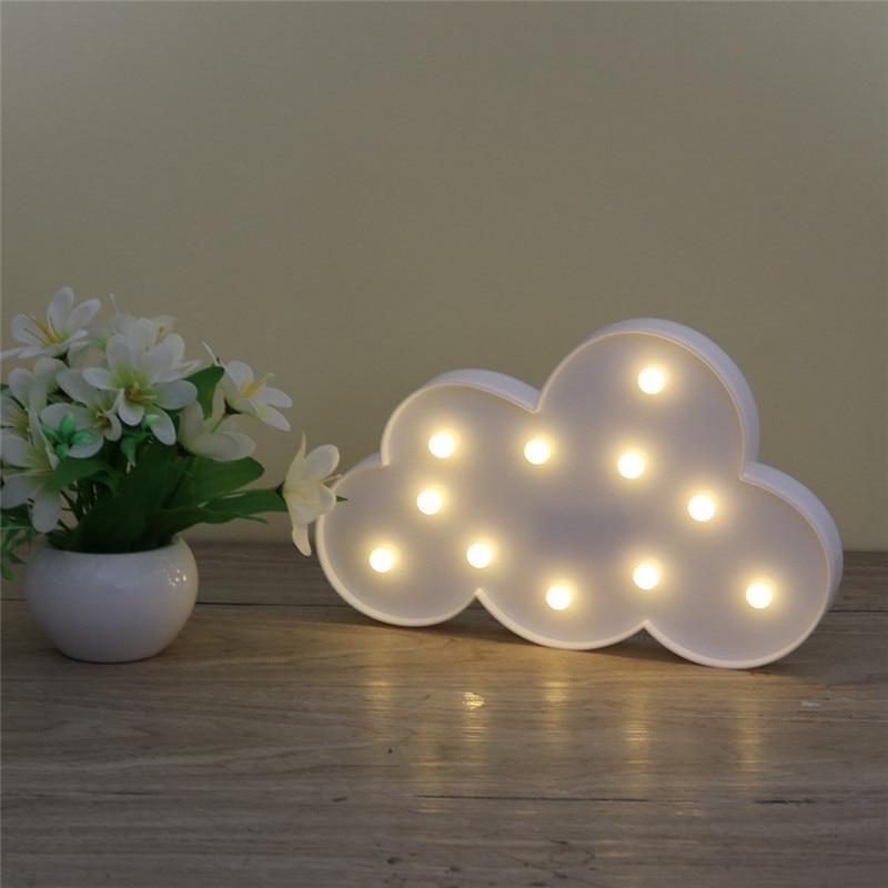 3D светодиодный ночник в виде облаков, на батарейках, с белыми облаками и буквами, домашний декор, Детский Светильник для детской спальни, рож...