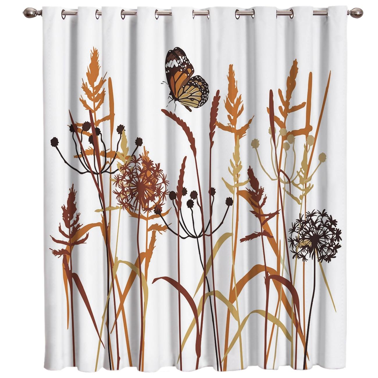 Cortinas de ventana de diente de león y mariposa Decoración Para sala de estar al aire libre dormitorio interior decoración de tela ventana tratamiento cenefas