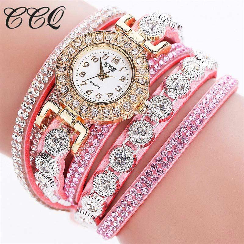 Reloj de pulsera de lujo para mujer, de zirconia, con correa larga y Multicapa, reloj de cuarzo con cristales para fiesta y Estilo bohemio de verano