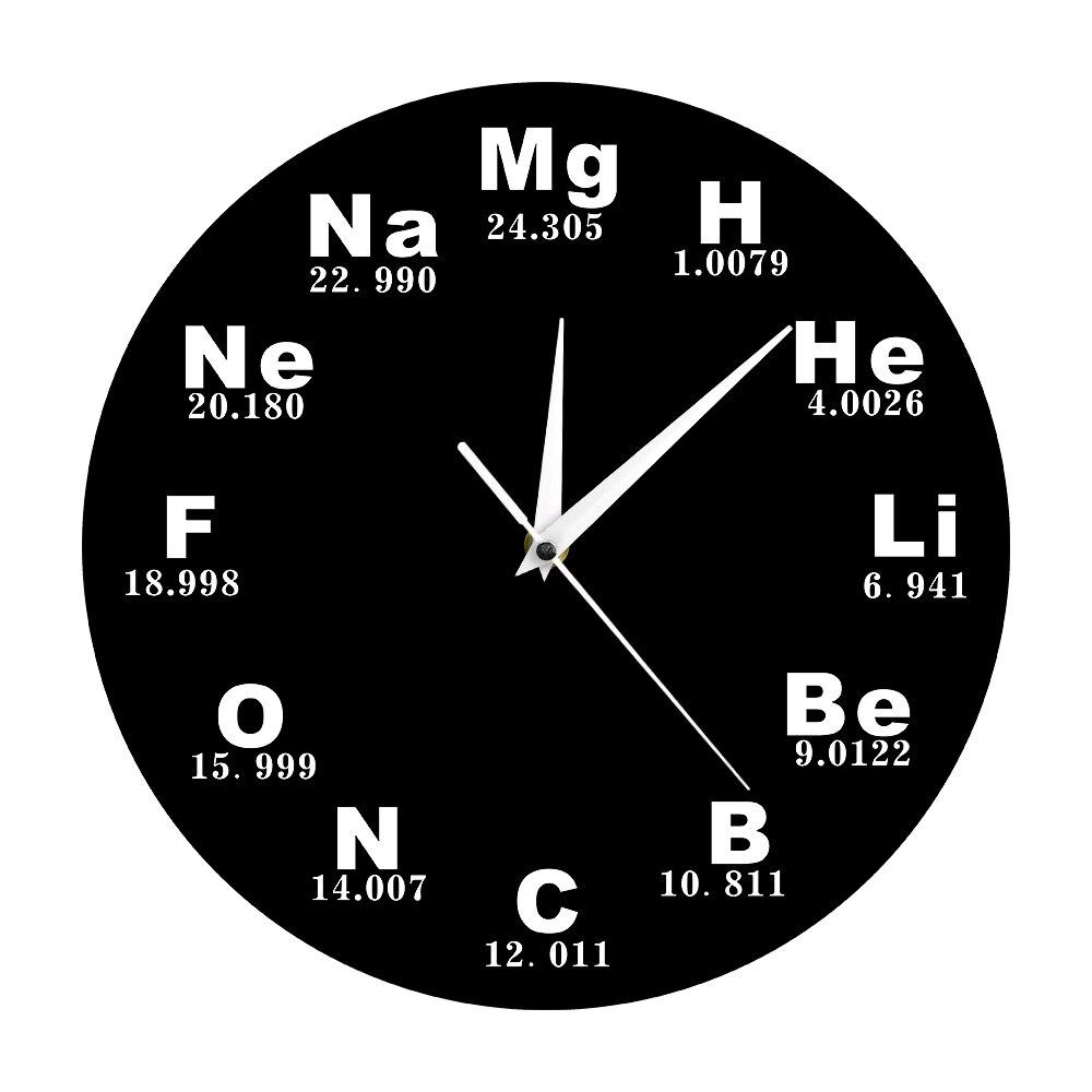 1 шт., химические элементы, повседневные настенные часы, современный дизайн, химические символы, биология, настенные часы, часы, научный пода...