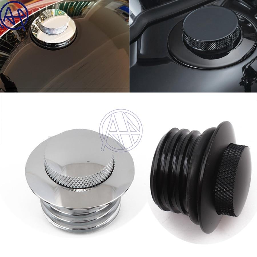 Tapa de Gas de depósito emergente de aluminio negro/cromado para motocicleta, rosca derecha del tanque de combustible ventilado para bicicletas Harley
