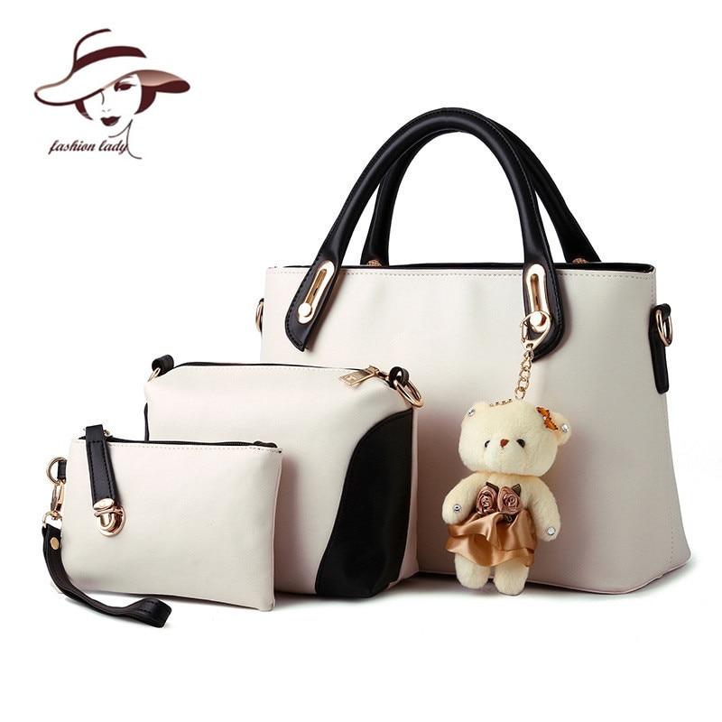 2020  women bag composite bag buy one get three 3 bags a set candy color women handbag+clutch+shoulder bag famous brand designer