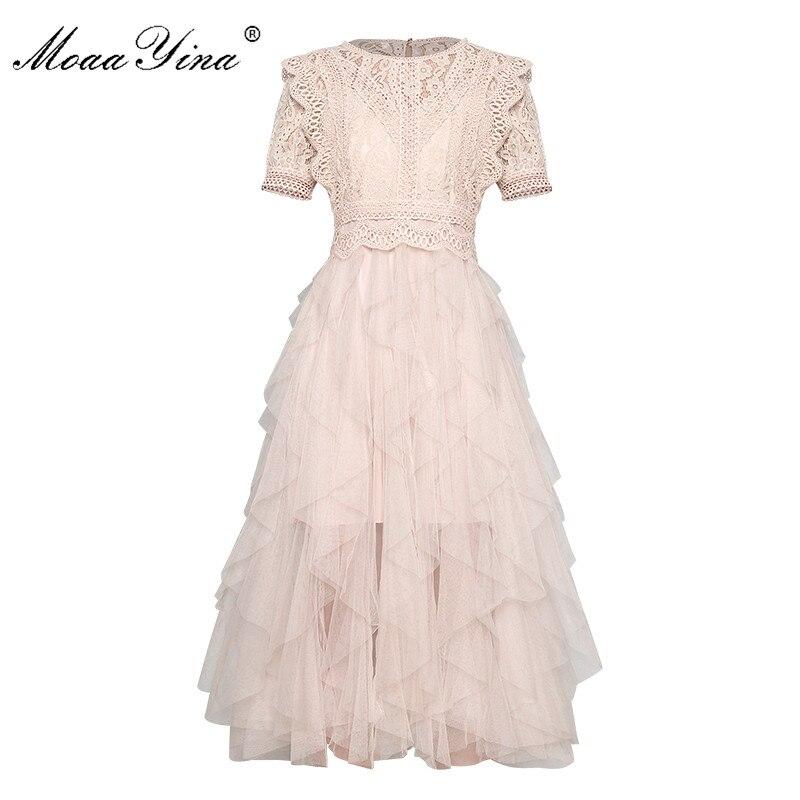 MoaaYina, vestido de pasarela de diseñador de moda, vestido de primavera-verano para mujer, Vestido de manga corta de encaje de retazos de malla, vestidos de baile