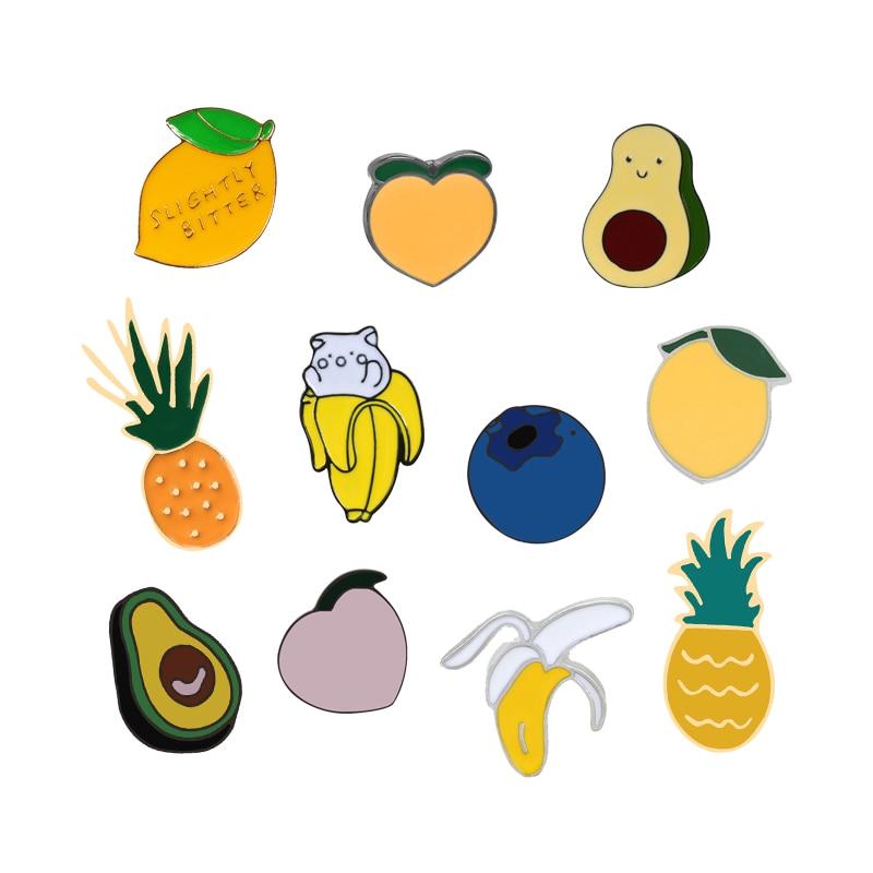 Fruits Pins Cartoon Peach Lemon Banana Blueberry Avocado Cute Brooch Kawaii Button Badges Jackets Lapel Enamel Pin Kids Jewelry