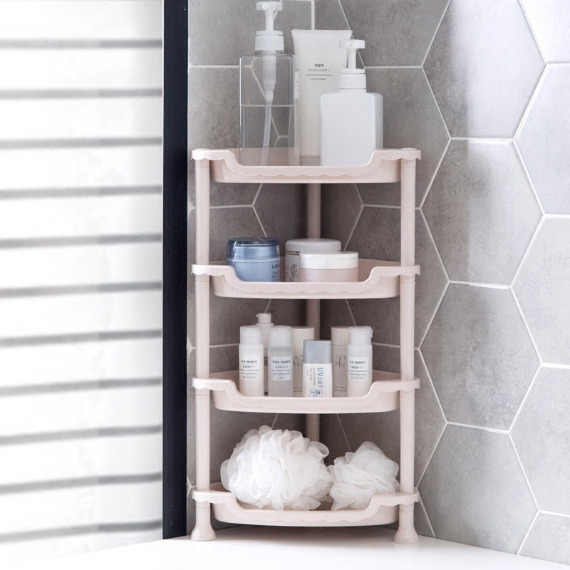 Plastic Multilayer Finishing Rack Kitchen Countertop Shelf Bathroom Storage Rack 3/4 Layers Shower Organizer
