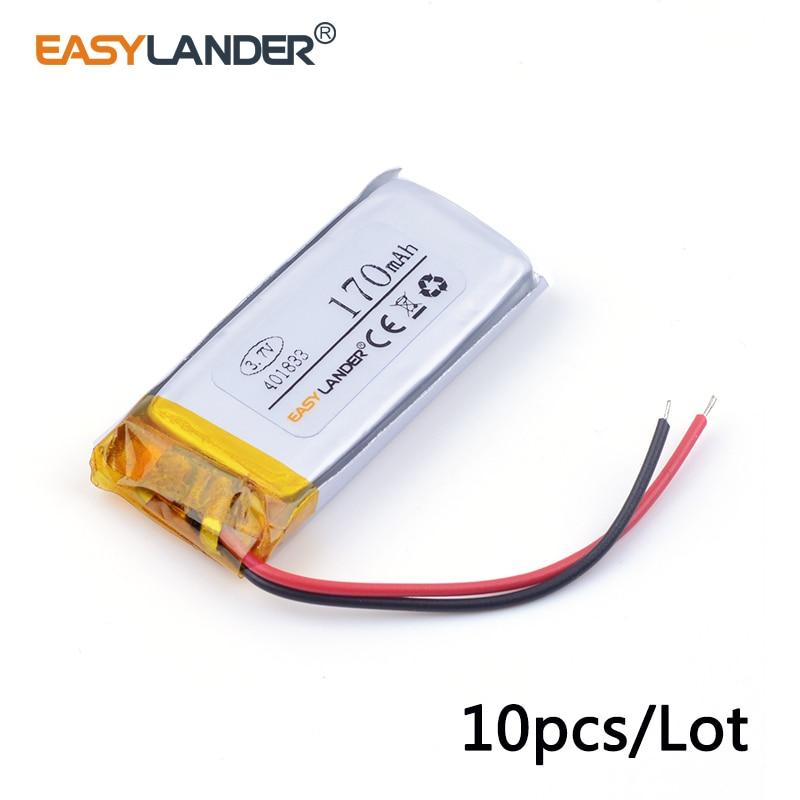 10 unids/lote 401833 3,7 v 170mAh batería recargable de polímero de litio li-ion para MP3 mp4 DVR pluma Bluetooth juguetes de audio DIY 041832