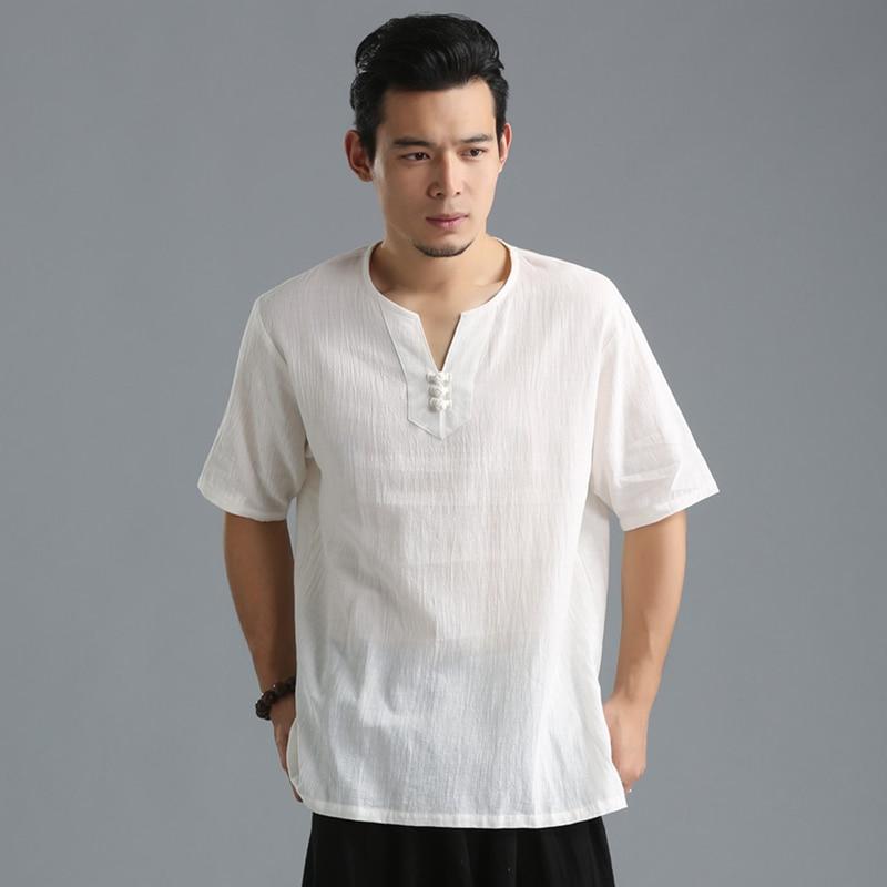 LZJN 2019 Summer Shirt Men Short Sleeve Blouse V-Neck Pullover Chinese Style Tops Soft Cotton Linen Thin Shirts 4 Colors