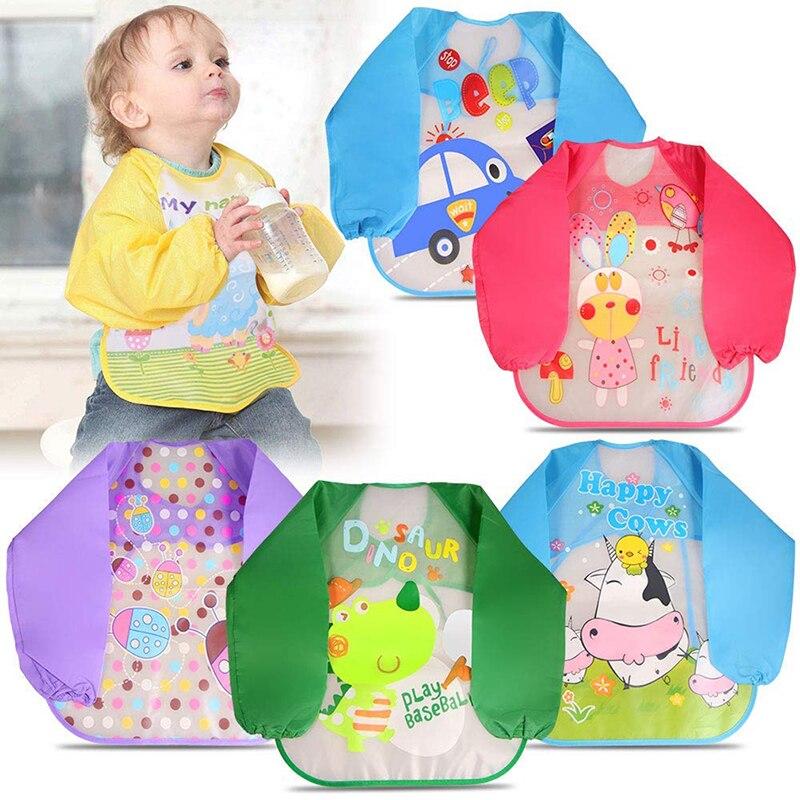 Baby Waterproof Full Sleeve Bibs Children Apron Long Sleeve Feeding Bibs High Quality Practical Kids Baby Bibs