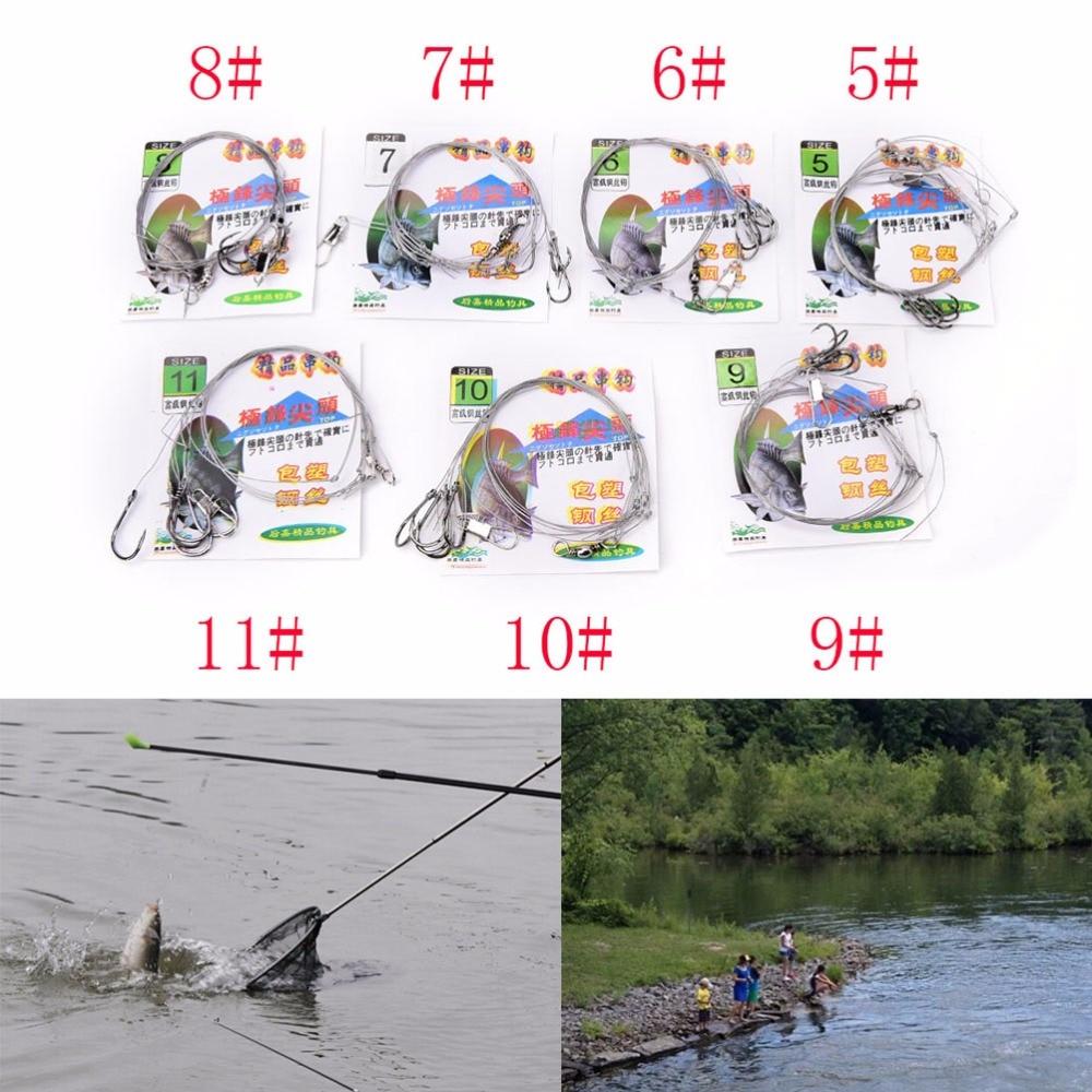 3 bolsas de acero inoxidable aparejos de pesca cable líder 5 gancho de cadena anti-Cuerda de Pesca de Mar plantilla ganchos gancho de alambre de acero/5/6/7/8/9/10/11 #