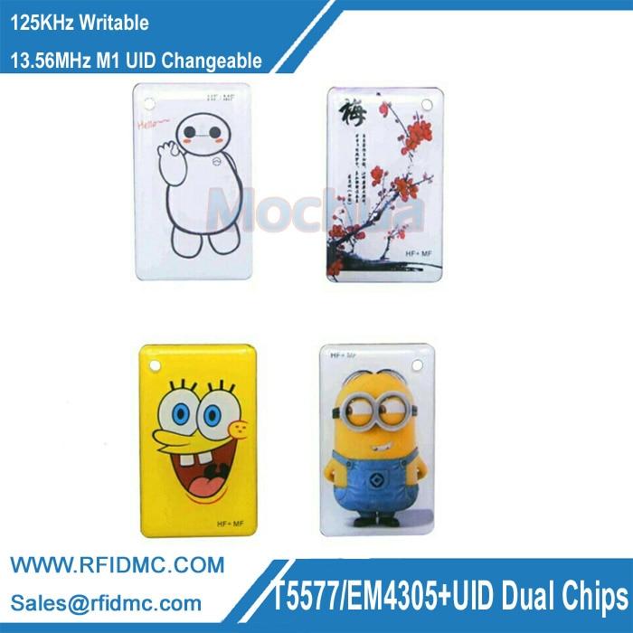 5 шт. 125 кГц T5577 EM4305 + 13,56 МГц M1 UID сменный двойной чип RFID тег