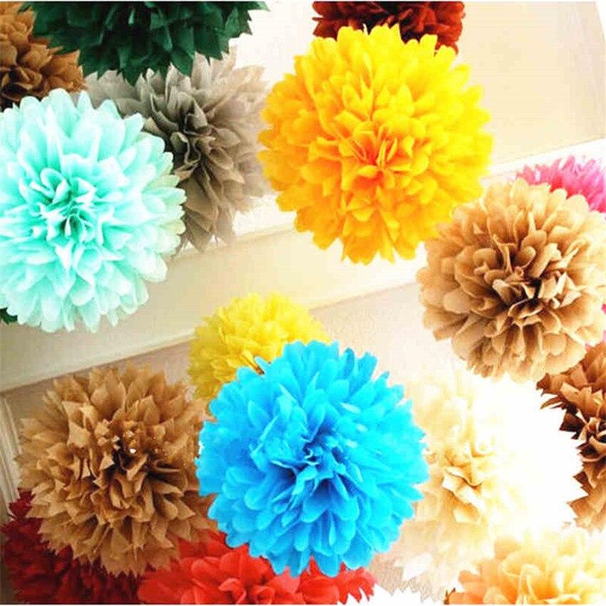 Cores 4 28 polegada (10 cm) tamanho pequeno Papel Tissue Pom Pom Flor Rosa Bola Pendurado Decorações da Festa de Casamento 2 pcs