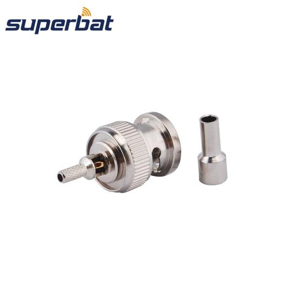 Superbat BNC Crimp Male Plug connector for RG174 RG316 1.13mm 1.37mm cable