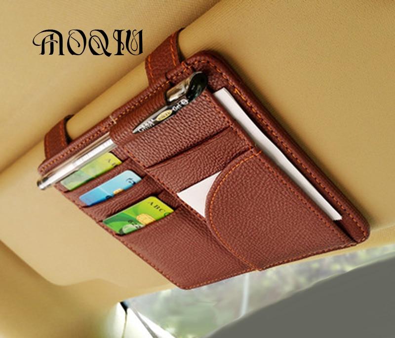 MOQIU High Quality Microfiber PU leather Car Sun Visor Glasses clip / card holder multifunctional storage bag clip