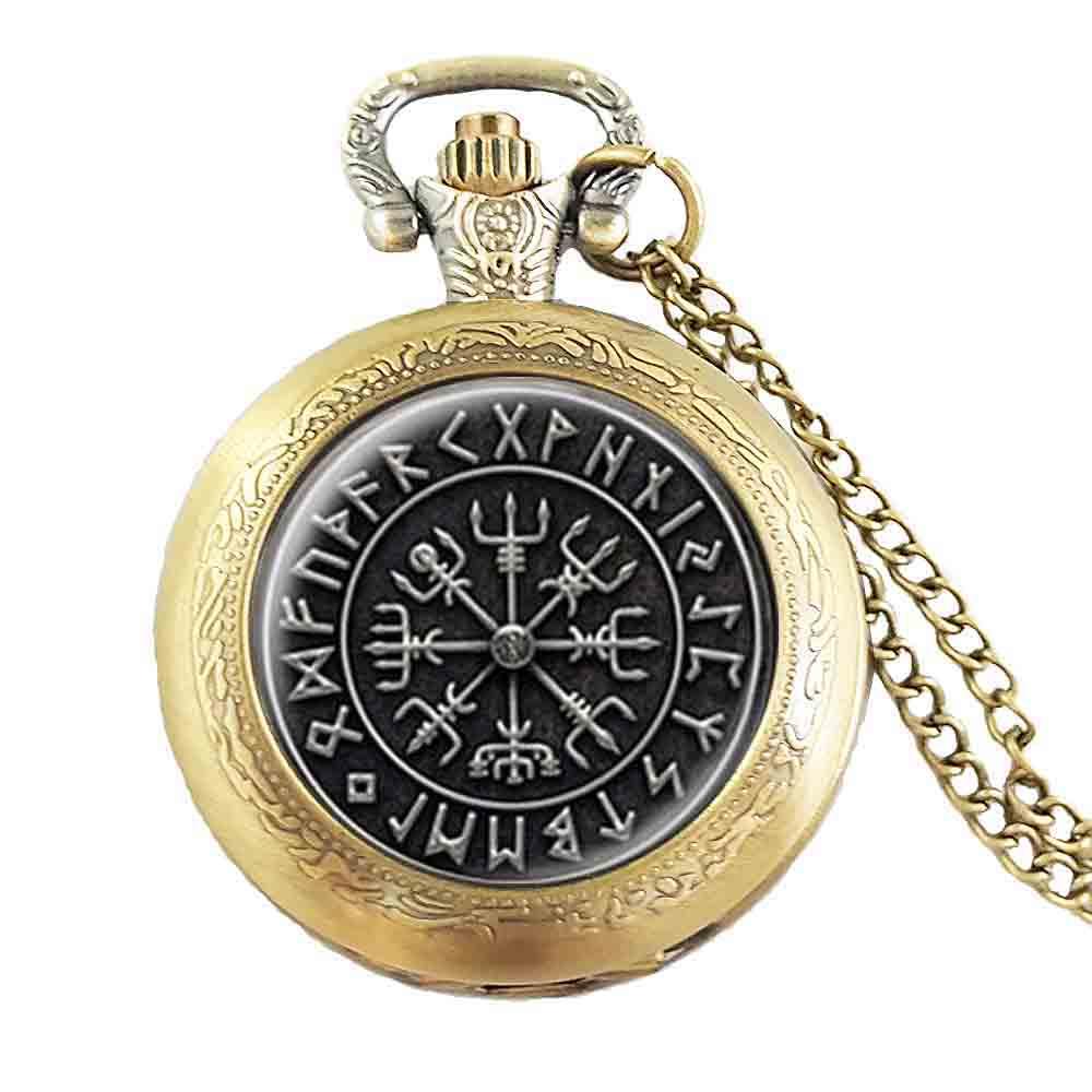 Карманные часы в стиле стимпанк, 1 шт./лот, «Норс», «Викинг», «рунный круг», стеклянный кабошон, ожерелье, купольная цепь для ювелирных изделий для женщин и мужчин