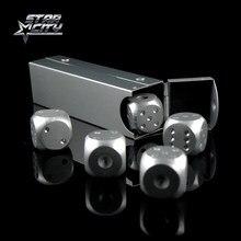 16MM en alliage daluminium jeu de dés argent/or dominos solides boire des dés de jeu boîtier en métal accessoire de Poker cadeau Unique