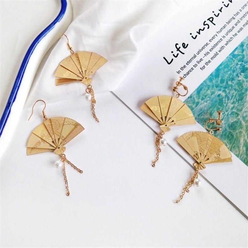 El Metal de estilo chino Retro de moda se puede recoger el collar de borla de perlas del ventilador de oro pendientes del Clip del oído femenina regalo creativo de la joyería