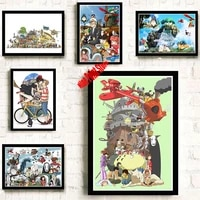 Affiche en papier couche Miyazaki Hayao  autocollant mural de decoration de maison  collection de bandes dessinees et de bandes dessinees au japon