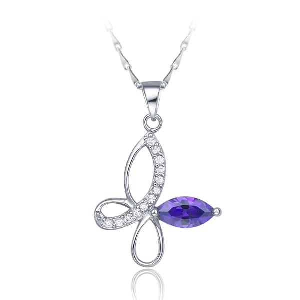 Corea 2015 nueva moda fina cadena Chapado en plata joyería Cristal púrpura colgantes collares para mujeres