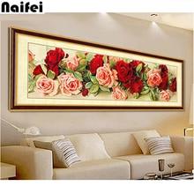 Decoración de habitación diamante pintura punto de cruz nuevo 3d Diy diamante bordado Floral Kits mosaico pared decoración flores rosa